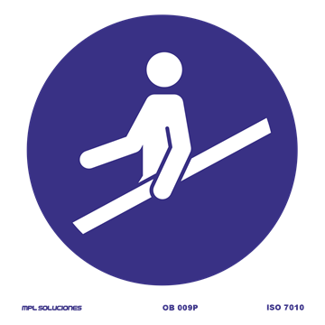 Señal: obligatorio utilizar el pasamanos