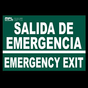 Señal: SALIDA DE EMERGENCIA - EMERGENCY EXIT