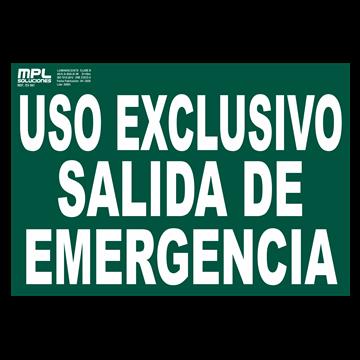 Señal: USO EXCLUSIVO DE SALIDA DE EMERGENCIA