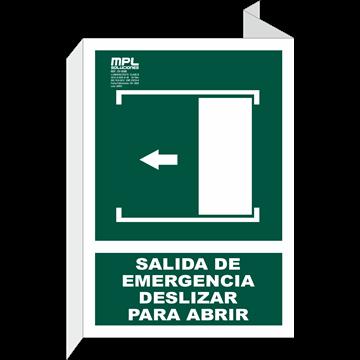 Banderola: Salida de emergencia deslizar izquierda