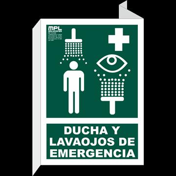Banderola: DUCHA Y LAVAOJOS DE EMERGENCIA
