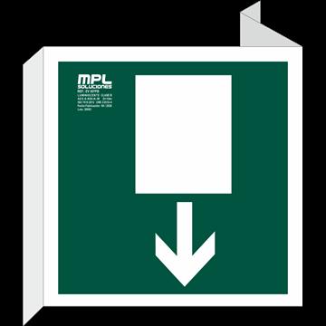 Banderola Cuadrada: Salida de emergencia abajo