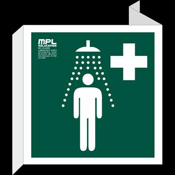 Banderola Cuadrada: Ducha de emergencia