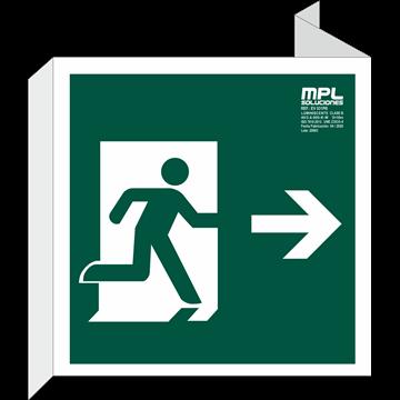 Banderola Cuadrada: Salida de emergencia derecha