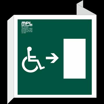Banderola Cuadrada: Salida emergencia minusvalidos derecha
