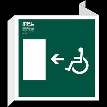 Banderola Cuadrada: Salida emergencia minusvalidos izquierda