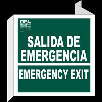 Banderola Cuadrada: SALIDA DE EMERGENCIA - EMERGENCY EXIT