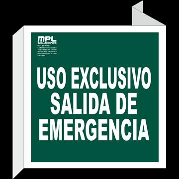 Banderola Cuadrada: USO EXCLUSIVO DE SALIDA DE EMERGENCIA