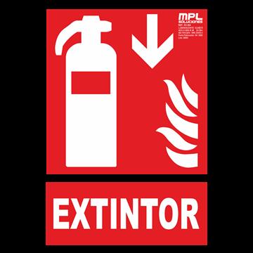Señal: Extintor de incendios abajo